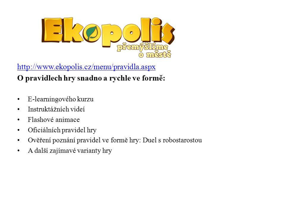 http://www.ekopolis.cz/hmenu/pro-ucitele.aspx Část určená pro učitele Stránka obsahující administrativní informace návrhy nových metodik ke hře od různých vyučujících, kteří již hru vyzkoušeli Informace o vedení učitelského účtu