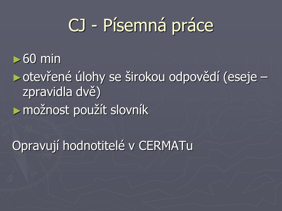 CJ - Písemná práce ► 60 min ► otevřené úlohy se širokou odpovědí (eseje – zpravidla dvě) ► možnost použít slovník Opravují hodnotitelé v CERMATu