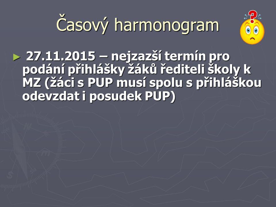 Časový harmonogram ► 27.11.2015 – nejzazší termín pro podání přihlášky žáků řediteli školy k MZ (žáci s PUP musí spolu s přihláškou odevzdat i posudek PUP)