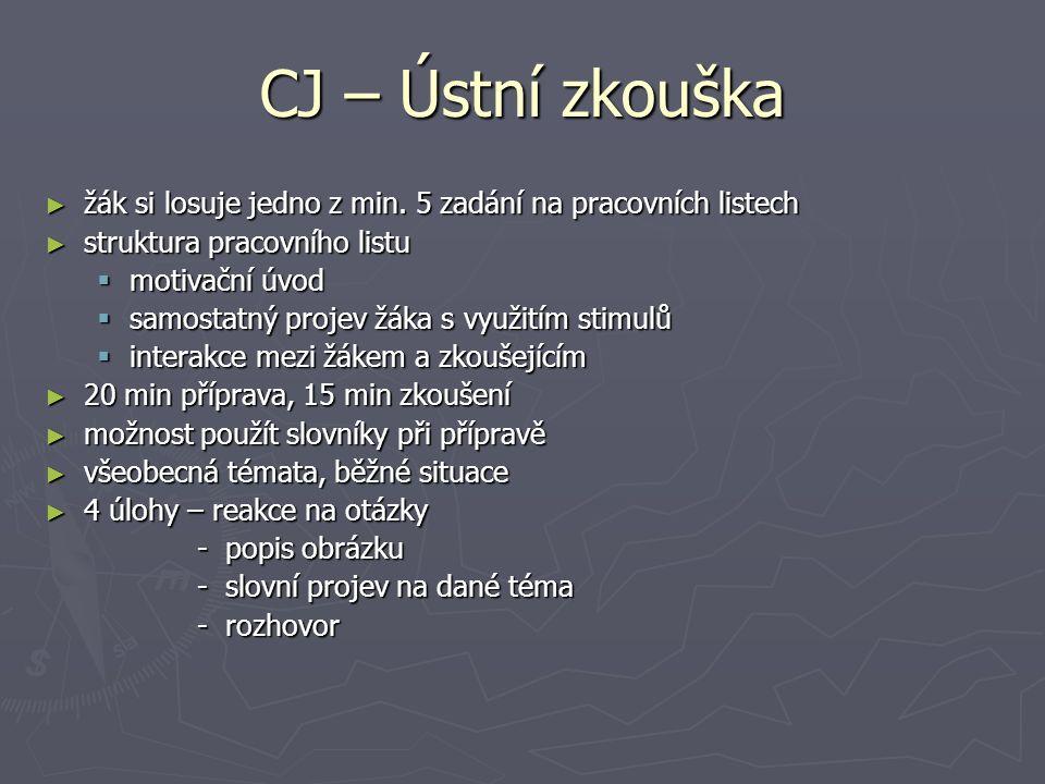 CJ - Didaktický test Dva subtesty: ► poslech s porozuměním (35 min) ► čtení s porozuměním, jazykové kompetence (60 min) Typy úloh ► uzavřené (s výběrem odpovědí) ► otevřené se stručnou odpovědí Opravuje se v CERMATu