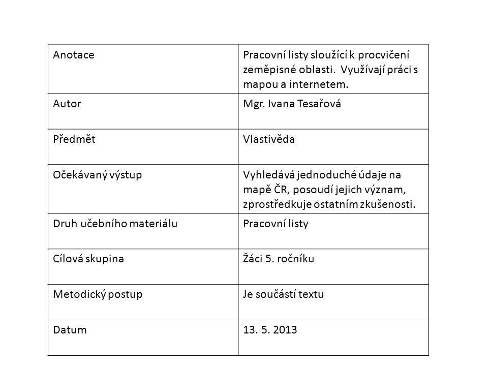 AnotacePracovní listy sloužící k procvičení zeměpisné oblasti.