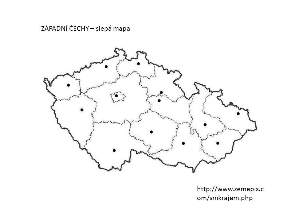 MĚSTA: Na slepé mapě vyznač města západních Čech.Ostatní vyřaď.