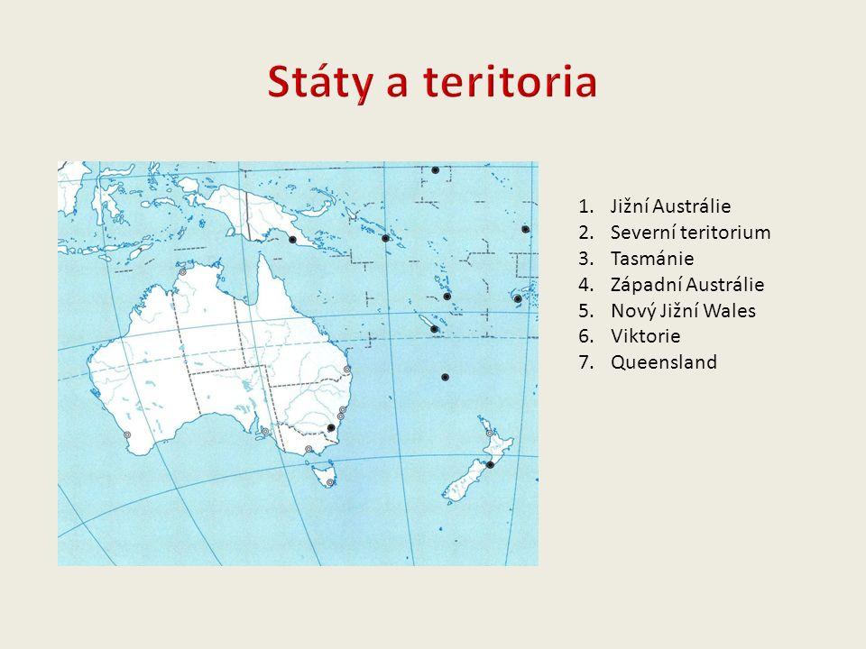 1.Jižní Austrálie 2.Severní teritorium 3.Tasmánie 4.Západní Austrálie 5.Nový Jižní Wales 6.Viktorie 7.Queensland