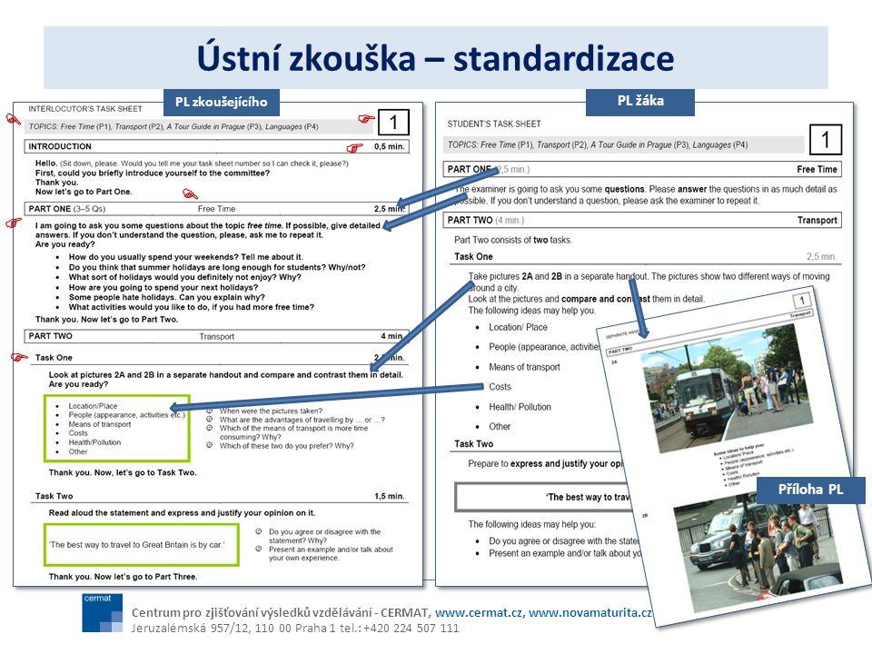 Ústní zkouška – standardizace Centrum pro zjišťování výsledků vzdělávání - CERMAT, www.cermat.cz, www.novamaturita.cz Jeruzalémská 957/12, 110 00 Prah