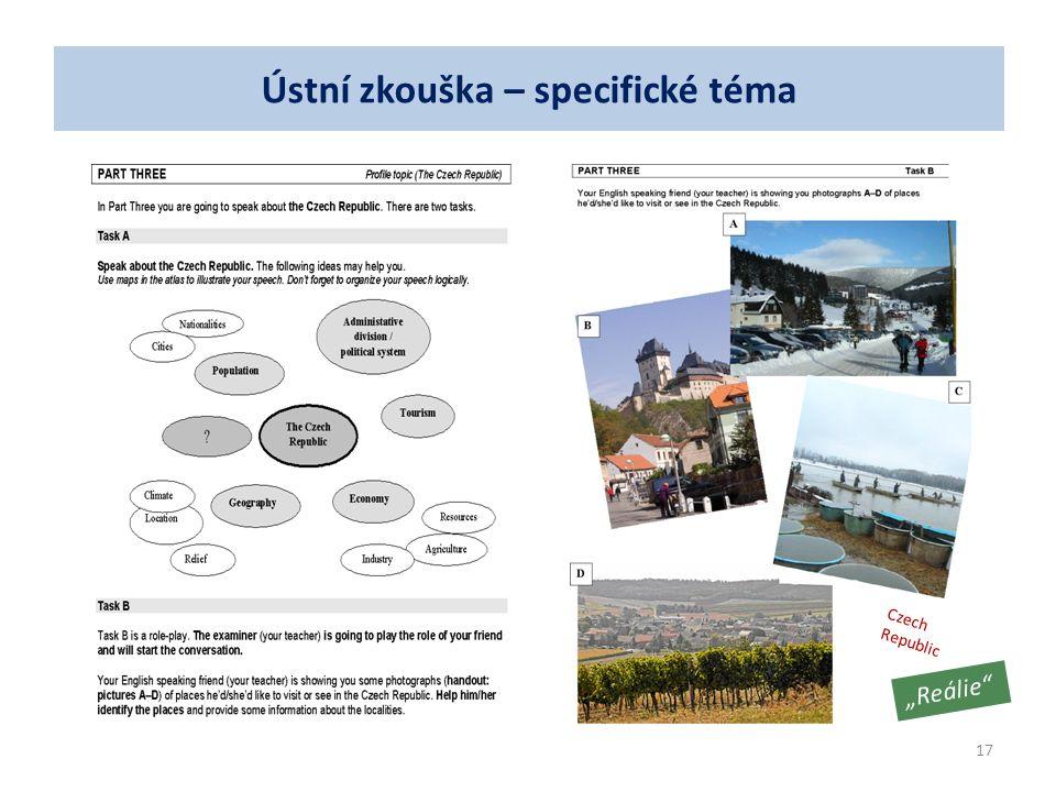 """""""Reálie"""" Czech Republic 17 Ústní zkouška – specifické téma"""