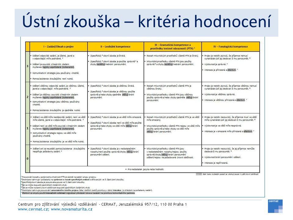 Centrum pro zjišťování výsledků vzdělávání - CERMAT, Jeruzalémská 957/12, 110 00 Praha 1 www.cermat.cz; www.novamaturita.cz Ústní zkouška – kritéria h