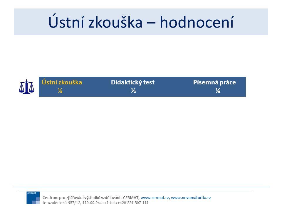 Ústní zkouška – hodnocení Centrum pro zjišťování výsledků vzdělávání - CERMAT, www.cermat.cz, www.novamaturita.cz Jeruzalémská 957/12, 110 00 Praha 1