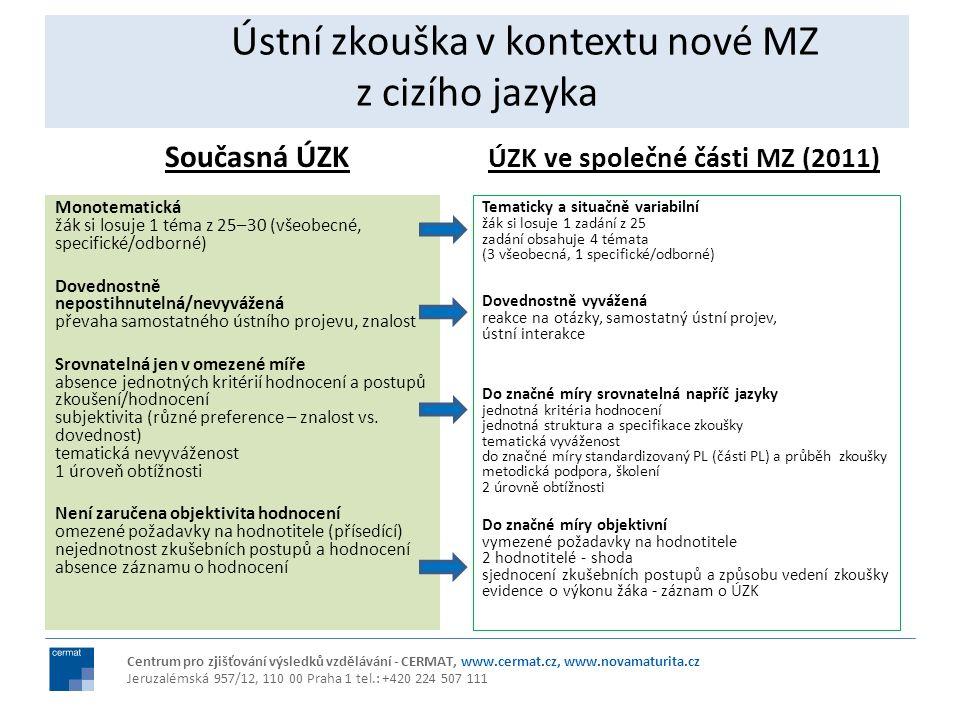 Ústní zkouška v kontextu nové MZ z cizího jazyka Současná ÚZK Monotematická žák si losuje 1 téma z 25–30 (všeobecné, specifické/odborné) Dovednostně n