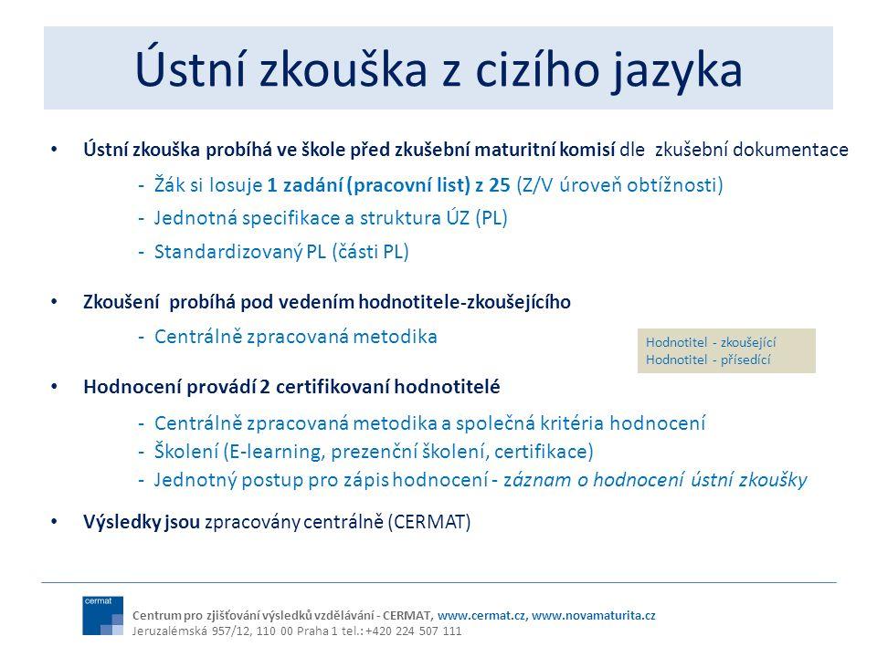 Ústní zkouška z cizího jazyka Ústní zkouška probíhá ve škole před zkušební maturitní komisí dle zkušební dokumentace - Žák si losuje 1 zadání (pracovn