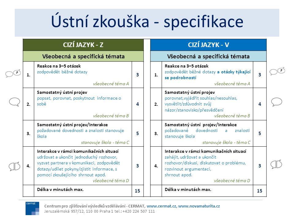 CIZÍ JAZYK - ZCIZÍ JAZYK - V Všeobecná a specifická témata 1. Reakce na 3–5 otázek zodpovědět běžné dotazy všeobecné téma A 3 1. Reakce na 3–5 otázek