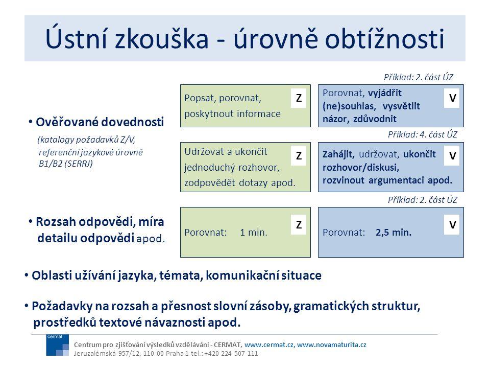Ústní zkouška - úrovně obtížnosti Centrum pro zjišťování výsledků vzdělávání - CERMAT, www.cermat.cz, www.novamaturita.cz Jeruzalémská 957/12, 110 00