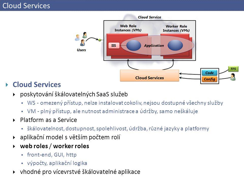 Cloud Services  Cloud Services  poskytování škálovatelných SaaS služeb  WS - omezený přístup, nelze instalovat cokoliv, nejsou dostupné všechny služby  VM - plný přístup, ale nutnost administrace a údržby, samo neškáluje  Platform as a Service  škálovatelnost, dostupnost, spolehlivost, údržba, různé jazyky a platformy  aplikační model s větším počtem rolí  web roles / worker roles  front-end, GUI, http  výpočty, aplikační logika  vhodné pro vícevrstvé škálovatelné aplikace