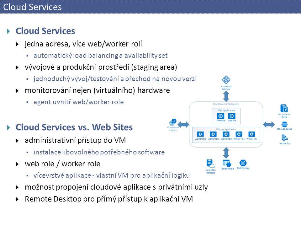 Cloud Services  Cloud Services  jedna adresa, více web/worker rolí  automatický load balancing a availability set  vývojové a produkční prostředí (staging area)  jednoduchý vyvoj/testování a přechod na novou verzi  monitorování nejen (virtuálního) hardware  agent uvnitř web/worker role  Cloud Services vs.