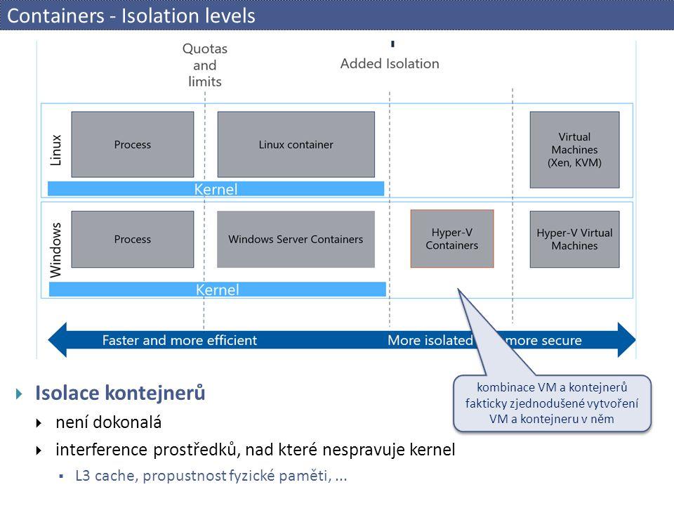Containers - Isolation levels  Isolace kontejnerů  není dokonalá  interference prostředků, nad které nespravuje kernel  L3 cache, propustnost fyzické paměti,...
