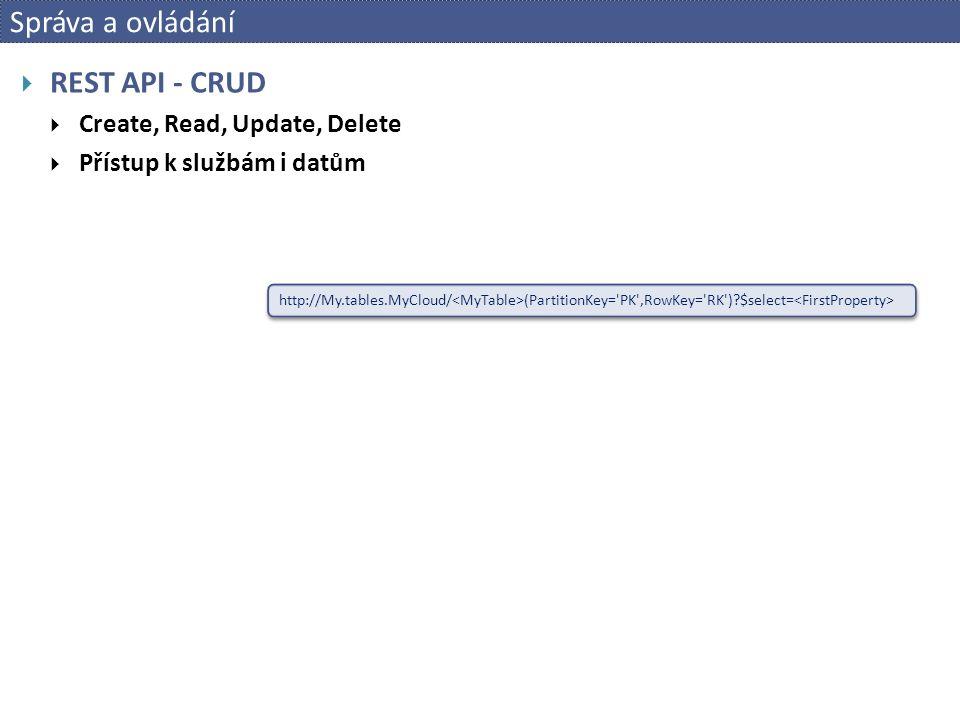 Správa a ovládání  REST API - CRUD  Create, Read, Update, Delete  Přístup k službám i datům http://My.tables.MyCloud/ (PartitionKey= PK ,RowKey= RK ) $select=