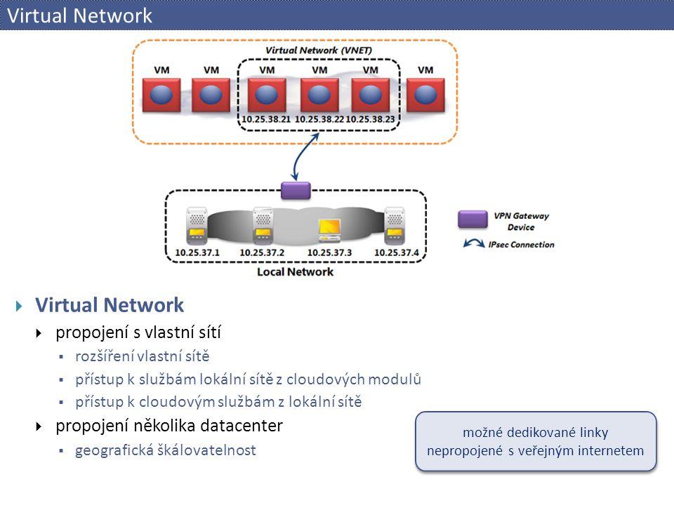 Virtual Network  Virtual Network  propojení s vlastní sítí  rozšíření vlastní sítě  přístup k službám lokální sítě z cloudových modulů  přístup k cloudovým službám z lokální sítě  propojení několika datacenter  geografická škálovatelnost možné dedikované linky nepropojené s veřejným internetem možné dedikované linky nepropojené s veřejným internetem