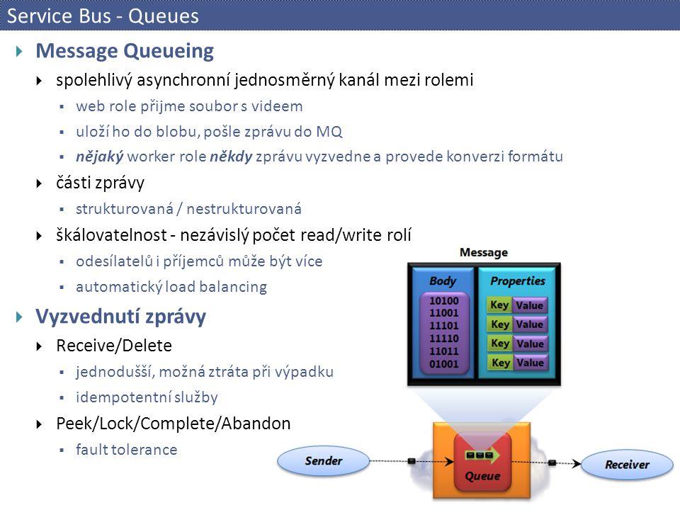 Service Bus - Queues  Message Queueing  spolehlivý asynchronní jednosměrný kanál mezi rolemi  web role přijme soubor s videem  uloží ho do blobu, pošle zprávu do MQ  nějaký worker role někdy zprávu vyzvedne a provede konverzi formátu  části zprávy  strukturovaná / nestrukturovaná  škálovatelnost - nezávislý počet read/write rolí  odesílatelů i příjemců může být více  automatický load balancing  Vyzvednutí zprávy  Receive/Delete  jednodušší, možná ztráta při výpadku  idempotentní služby  Peek/Lock/Complete/Abandon  fault tolerance