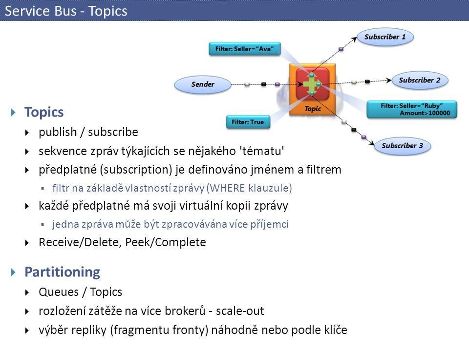 Service Bus - Topics  Topics  publish / subscribe  sekvence zpráv týkajících se nějakého tématu  předplatné (subscription) je definováno jménem a filtrem  filtr na základě vlastností zprávy (WHERE klauzule)  každé předplatné má svoji virtuální kopii zprávy  jedna zpráva může být zpracovávána více příjemci  Receive/Delete, Peek/Complete  Partitioning  Queues / Topics  rozložení zátěže na více brokerů - scale-out  výběr repliky (fragmentu fronty) náhodně nebo podle klíče