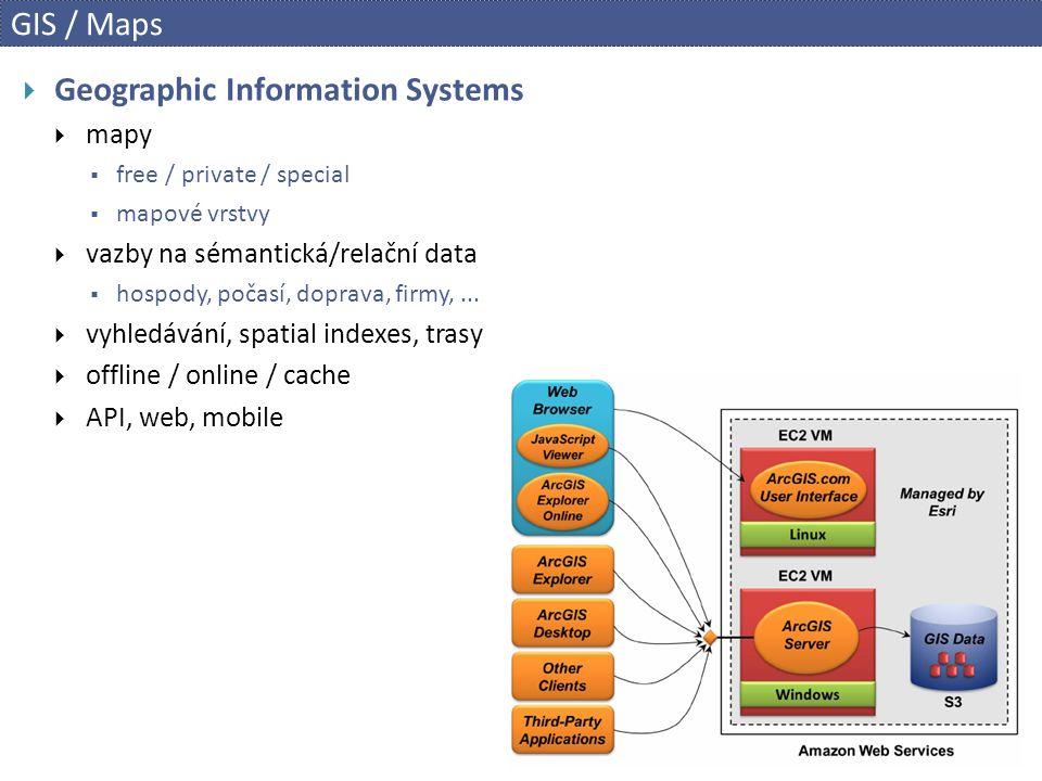 GIS / Maps  Geographic Information Systems  mapy  free / private / special  mapové vrstvy  vazby na sémantická/relační data  hospody, počasí, doprava, firmy,...