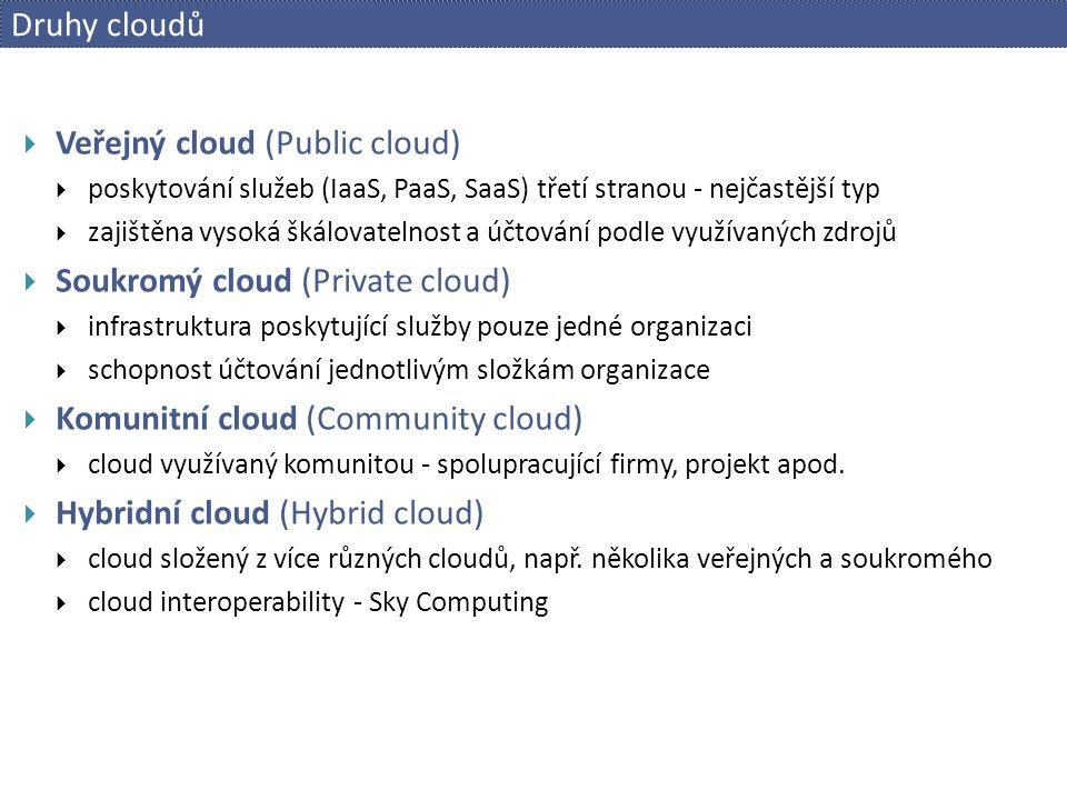 Druhy cloudů  Veřejný cloud (Public cloud)  poskytování služeb (IaaS, PaaS, SaaS) třetí stranou - nejčastější typ  zajištěna vysoká škálovatelnost a účtování podle využívaných zdrojů  Soukromý cloud (Private cloud)  infrastruktura poskytující služby pouze jedné organizaci  schopnost účtování jednotlivým složkám organizace  Komunitní cloud (Community cloud)  cloud využívaný komunitou - spolupracující firmy, projekt apod.