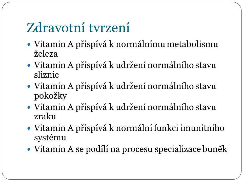 Zdravotní tvrzení Vitamin A přispívá k normálnímu metabolismu železa Vitamin A přispívá k udržení normálního stavu sliznic Vitamin A přispívá k udržení normálního stavu pokožky Vitamin A přispívá k udržení normálního stavu zraku Vitamin A přispívá k normální funkci imunitního systému Vitamin A se podílí na procesu specializace buněk