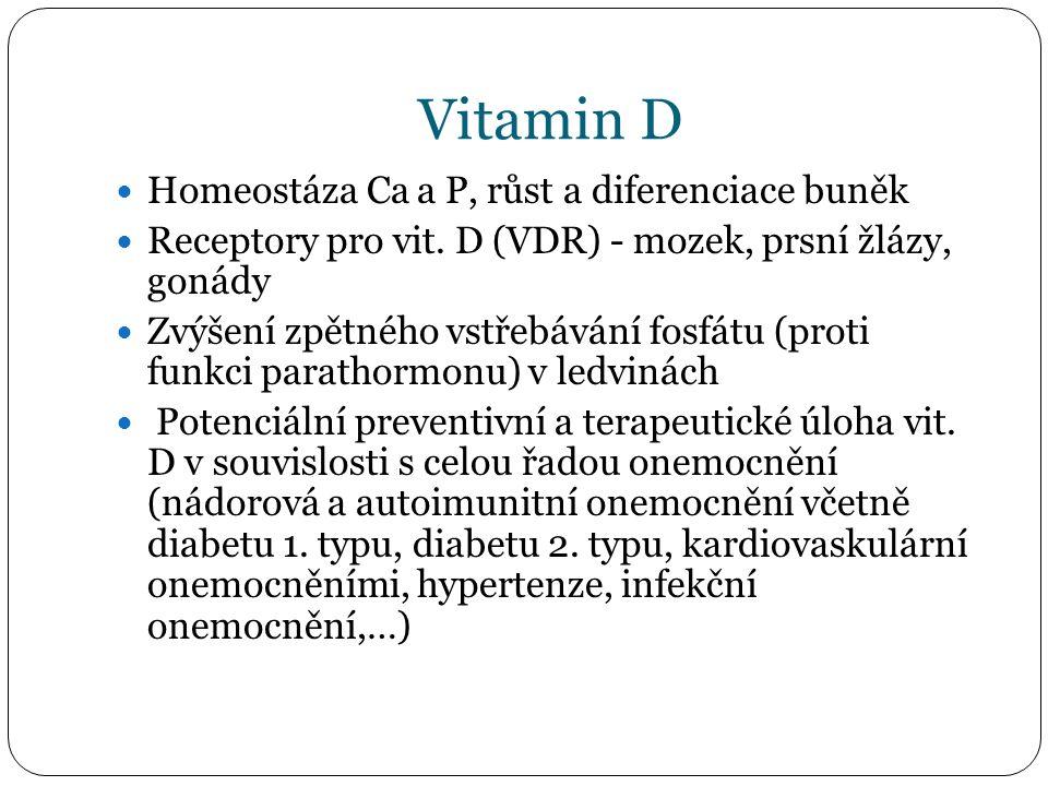 Vitamin D Homeostáza Ca a P, růst a diferenciace buněk Receptory pro vit. D (VDR) - mozek, prsní žlázy, gonády Zvýšení zpětného vstřebávání fosfátu (p