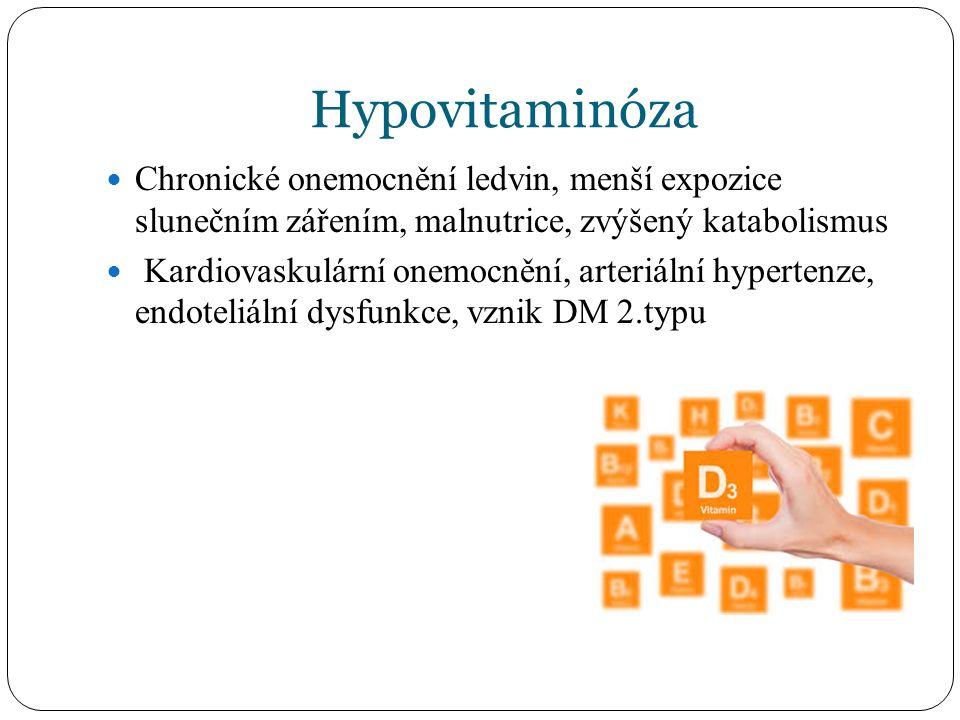 Hypovitaminóza Chronické onemocnění ledvin, menší expozice slunečním zářením, malnutrice, zvýšený katabolismus Kardiovaskulární onemocnění, arteriální hypertenze, endoteliální dysfunkce, vznik DM 2.typu