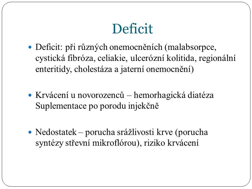 Deficit Deficit: při různých onemocněních (malabsorpce, cystická fibróza, celiakie, ulcerózní kolitida, regionální enteritidy, cholestáza a jaterní onemocnění) Krvácení u novorozenců – hemorhagická diatéza Suplementace po porodu injekčně Nedostatek – porucha srážlivosti krve (porucha syntézy střevní mikroflórou), riziko krvácení