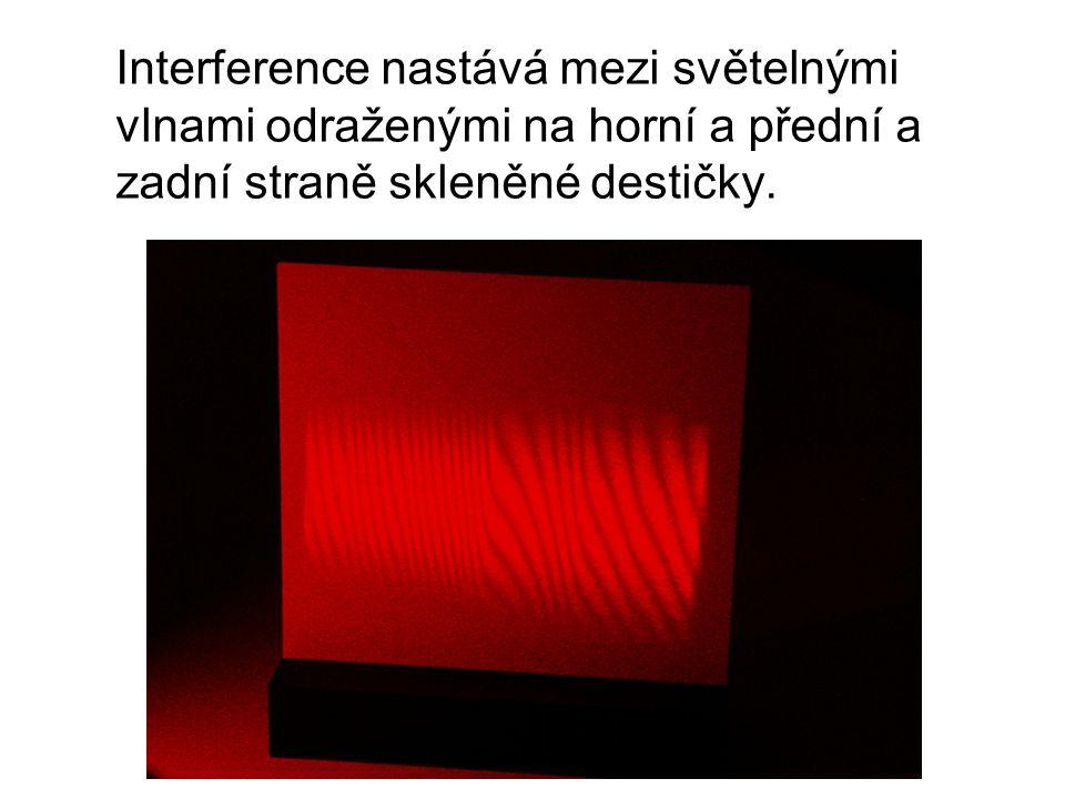 Interference nastává mezi světelnými vlnami odraženými na horní a přední a zadní straně skleněné destičky.