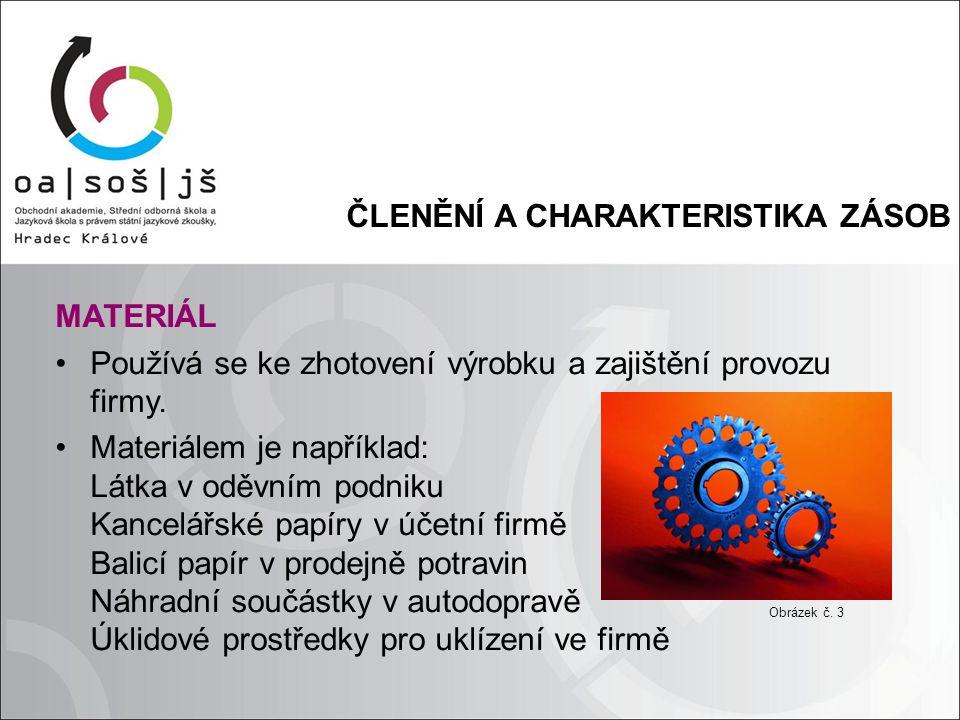 ČLENĚNÍ A CHARAKTERISTIKA ZÁSOB MATERIÁL Používá se ke zhotovení výrobku a zajištění provozu firmy.