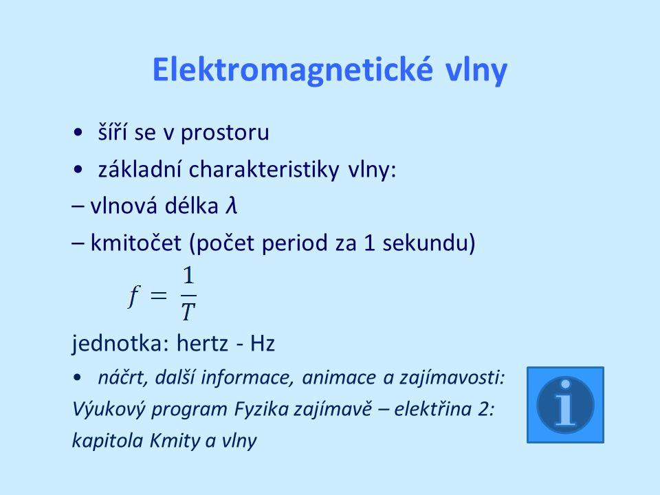 Elektromagnetické vlny šíří se v prostoru základní charakteristiky vlny: – vlnová délka λ – kmitočet (počet period za 1 sekundu) jednotka: hertz - Hz