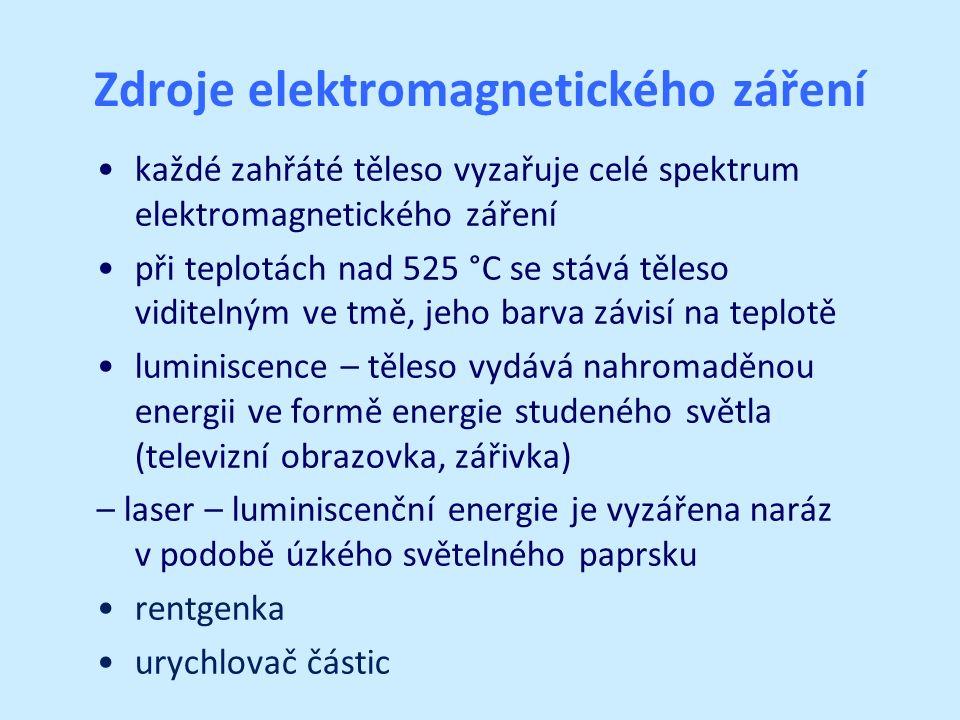 Zdroje elektromagnetického záření každé zahřáté těleso vyzařuje celé spektrum elektromagnetického záření při teplotách nad 525 °C se stává těleso viditelným ve tmě, jeho barva závisí na teplotě luminiscence – těleso vydává nahromaděnou energii ve formě energie studeného světla (televizní obrazovka, zářivka) – laser – luminiscenční energie je vyzářena naráz v podobě úzkého světelného paprsku rentgenka urychlovač částic