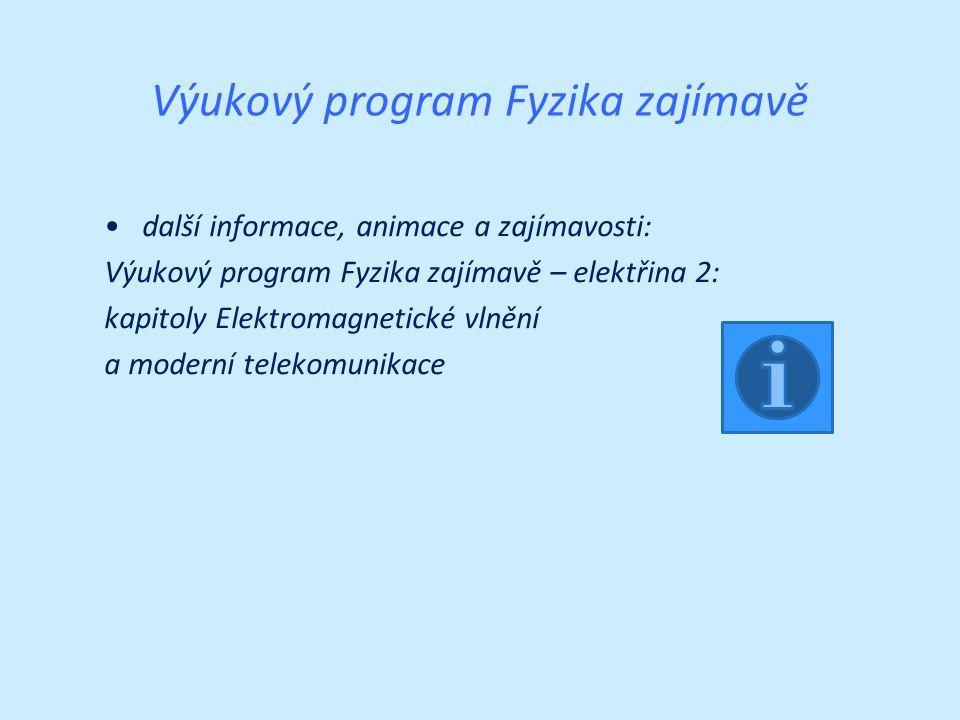 Výukový program Fyzika zajímavě další informace, animace a zajímavosti: Výukový program Fyzika zajímavě – elektřina 2: kapitoly Elektromagnetické vlnění a moderní telekomunikace
