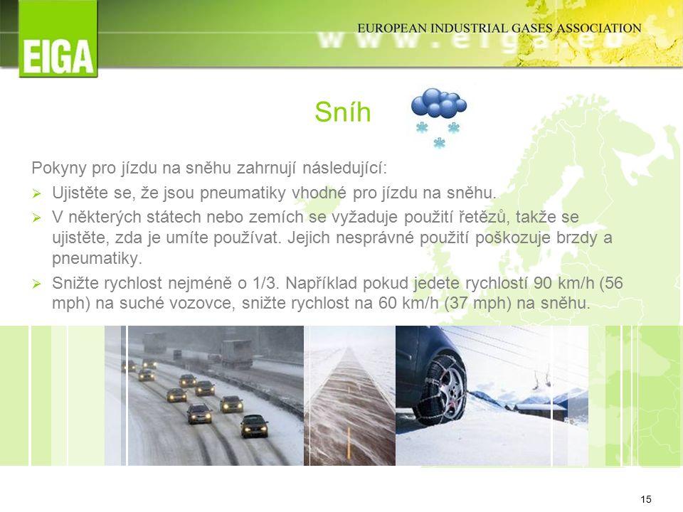 15 Sníh Pokyny pro jízdu na sněhu zahrnují následující:  Ujistěte se, že jsou pneumatiky vhodné pro jízdu na sněhu.