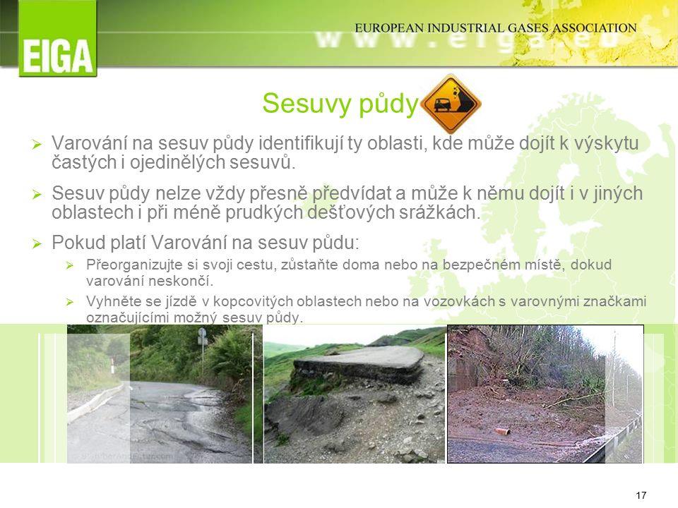 17 Sesuvy půdy  Varování na sesuv půdy identifikují ty oblasti, kde může dojít k výskytu častých i ojedinělých sesuvů.