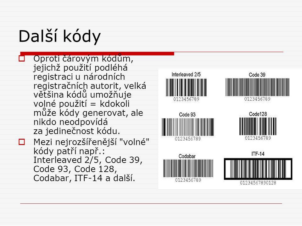 Další kódy  Oproti čárovým kódům, jejichž použití podléhá registraci u národních registračních autorit, velká většina kódů umožňuje volné použití = kdokoli může kódy generovat, ale nikdo neodpovídá za jedinečnost kódu.