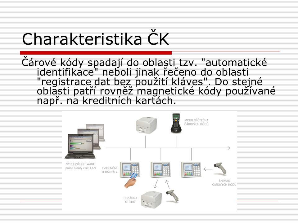 Charakteristika ČK Čárové kódy spadají do oblasti tzv.