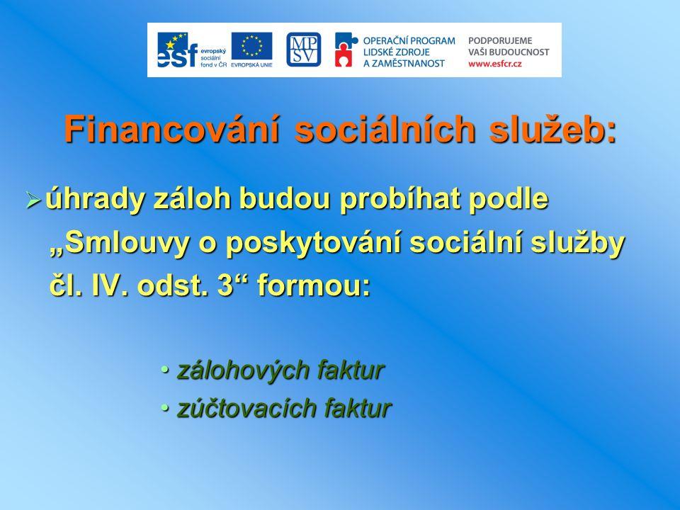 """Financování sociálních služeb:  úhrady záloh budou probíhat podle """"Smlouvy o poskytování sociální služby """"Smlouvy o poskytování sociální služby čl."""