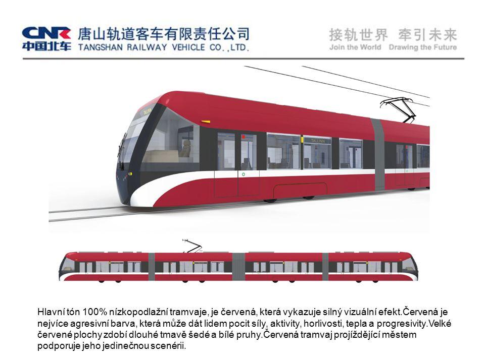 Hlavní tón 100% nízkopodlažní tramvaje, je červená, která vykazuje silný vizuální efekt.Červená je nejvíce agresivní barva, která může dát lidem pocit síly, aktivity, horlivosti, tepla a progresivity.Velké červené plochy zdobí dlouhé tmavě šedé a bílé pruhy.Červená tramvaj projíždějící městem podporuje jeho jedinečnou scenérii.