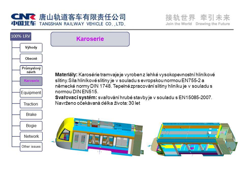 Karoserie Materiály: Karosérie tramvaje je vyroben z lehké vysokopevnostní hliníkové slitiny.Síla hliníkové slitiny je v souladu s evropskou normou EN755-2 a německé normy DIN 1748.