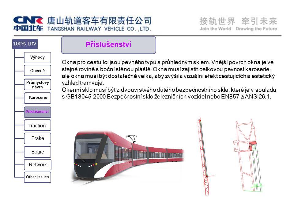 Příslušenství Okna pro cestující jsou pevného typu s průhledným sklem.