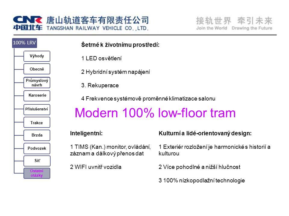 Příslušenství Karoserie 100% LRV Výhody Obecně Průmyslový návrh Trakce Brzda Podvozek Síť Ostatní otázky Šetrné k životnímu prostředí: 1 LED osvětlení 2 Hybridní systém napájení 3.