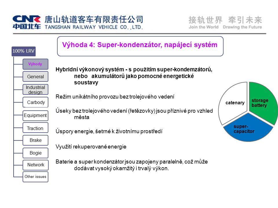 Výhoda 4: Super-kondenzátor, napájecí systém Equipment Carbody 100% LRV Výhody General Industrial design Traction Brake Bogie Network Other issues storage battery super- capacitor catenary Hybridní výkonový systém - s použitím super-kondemzátorů, nebo akumulátorů jako pomocné energetické soustavy Režim unikátního provozu bez trolejového vedení Úseky bez trolejového vedení (řetězovky) jsou příznivé pro vzhled města Úspory energie, šetrné k životnímu prostředí Využití rekuperované energie Baterie a super kondenzátor jsou zapojeny paralelně, což může dodávat vysoký okamžitý i trvalý výkon.