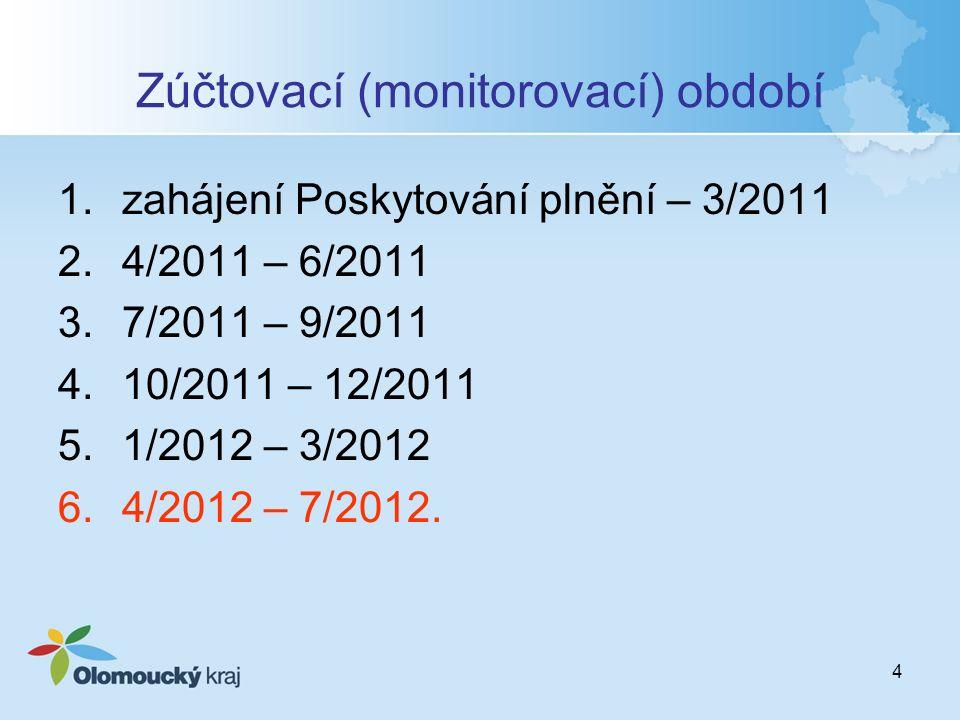 4 Zúčtovací (monitorovací) období 1.zahájení Poskytování plnění – 3/2011 2.4/2011 – 6/2011 3.7/2011 – 9/2011 4.10/2011 – 12/2011 5.1/2012 – 3/2012 6.4/2012 – 7/2012.