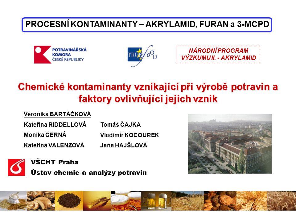 název vzorku obsah AA (μg/kg sušiny) RSD (%) Obsah AA (μg/kg chleba) světlý chléb6172,11 – 5 tmavý chléb3555,14 – 15 chléb s přídavkem SCH14818,8–  průměrné obsahy akrylamidu u jednotlivých chlebů:
