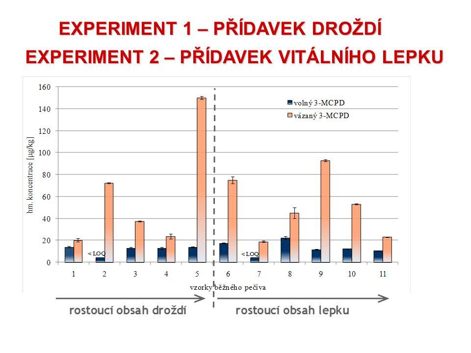 EXPERIMENT 1 – PŘÍDAVEK DROŽDÍ EXPERIMENT 2 – PŘÍDAVEK VITÁLNÍHO LEPKU