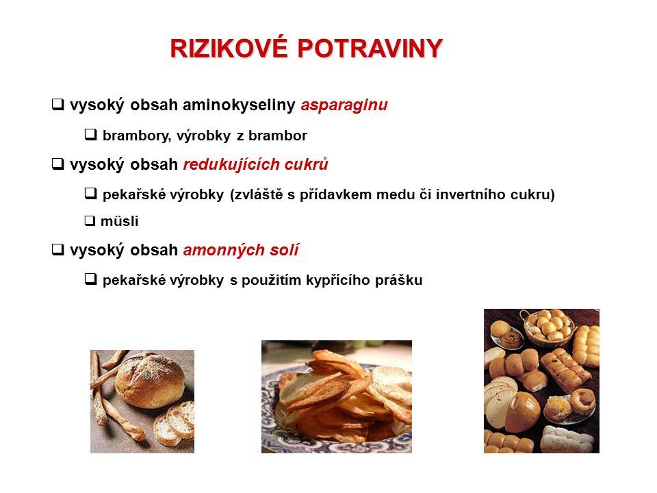 RIZIKOVÉ POTRAVINY  vysoký obsah aminokyseliny asparaginu  brambory, výrobky z brambor  vysoký obsah redukujících cukrů  pekařské výrobky (zvláště