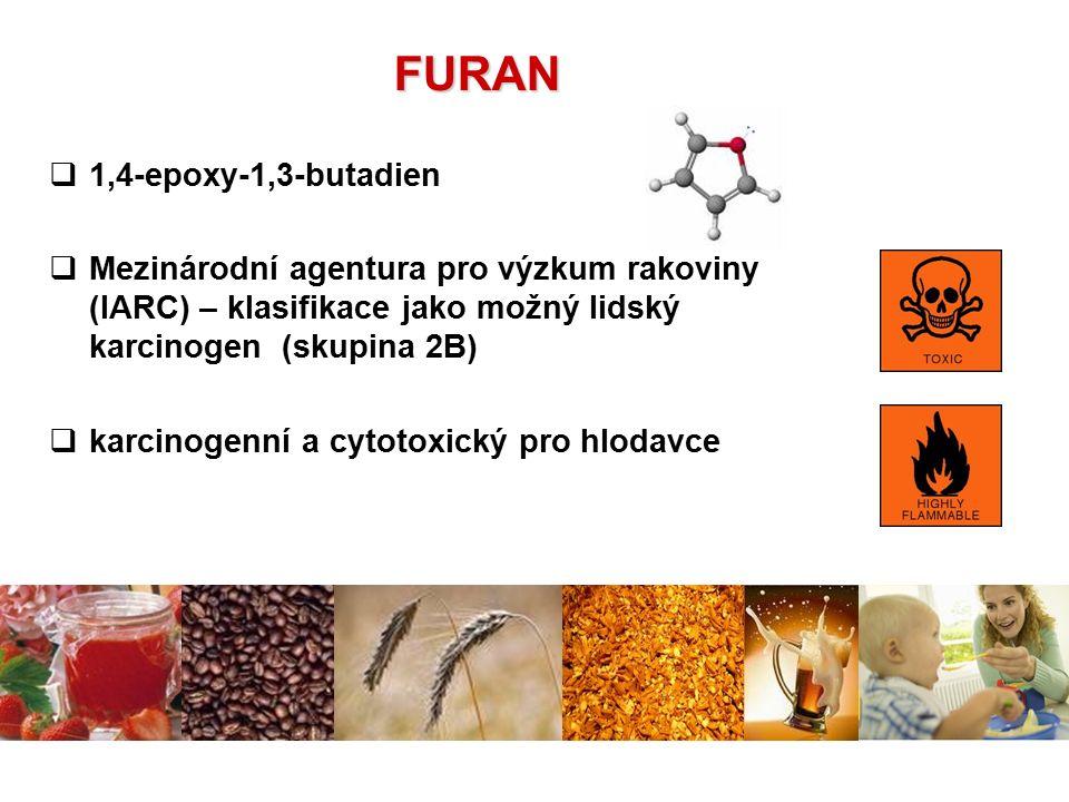  1,4-epoxy-1,3-butadien  Mezinárodní agentura pro výzkum rakoviny (IARC) – klasifikace jako možný lidský karcinogen (skupina 2B)  karcinogenní a cy