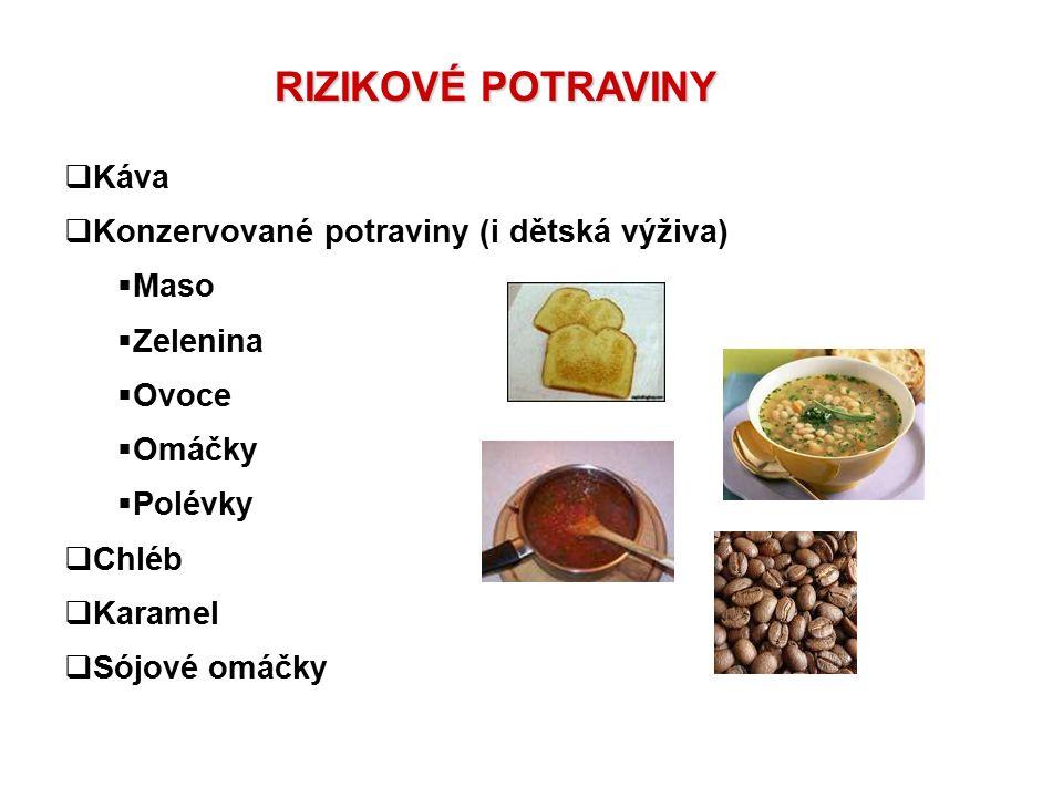 RIZIKOVÉ POTRAVINY  Káva  Konzervované potraviny (i dětská výživa)  Maso  Zelenina  Ovoce  Omáčky  Polévky  Chléb  Karamel  Sójové omáčky