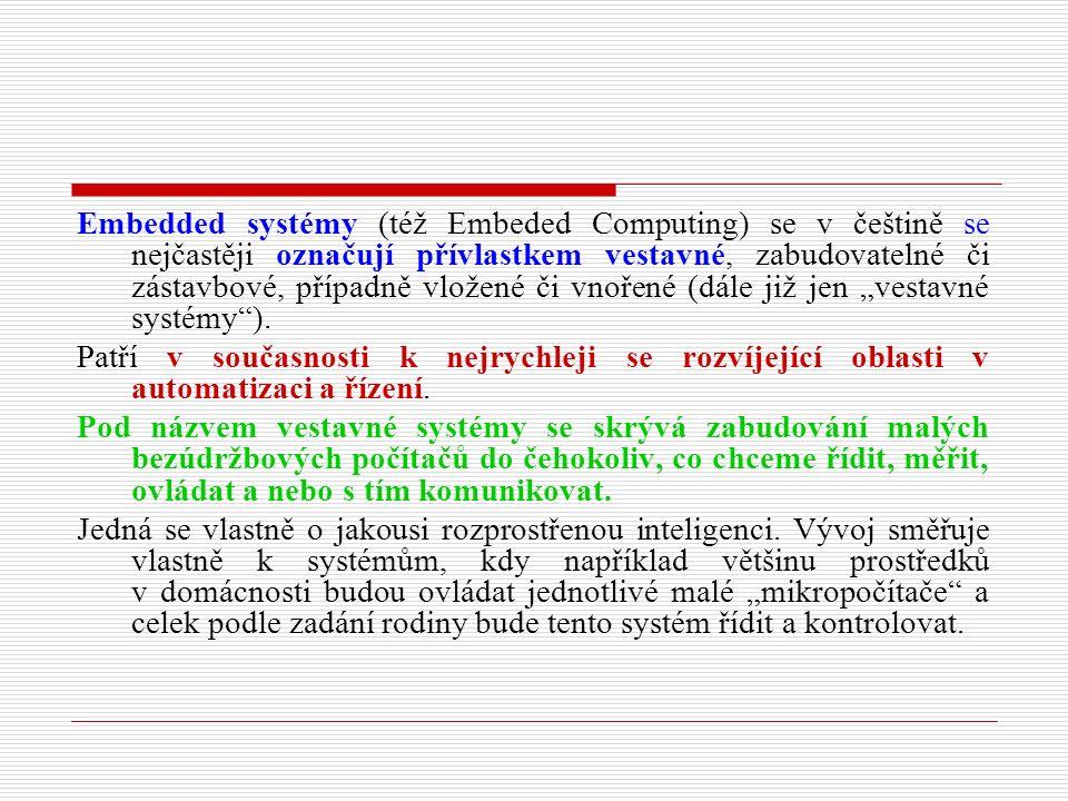 """Embedded systémy (též Embeded Computing) se v češtině se nejčastěji označují přívlastkem vestavné, zabudovatelné či zástavbové, případně vložené či vnořené (dále již jen """"vestavné systémy )."""